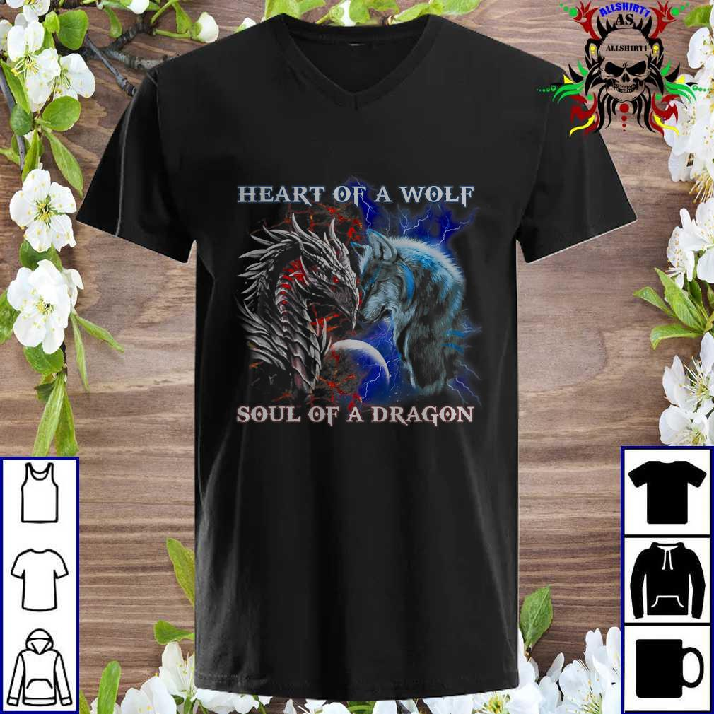Dragon vs wolf heart of a wolf soul of a dragon v neck