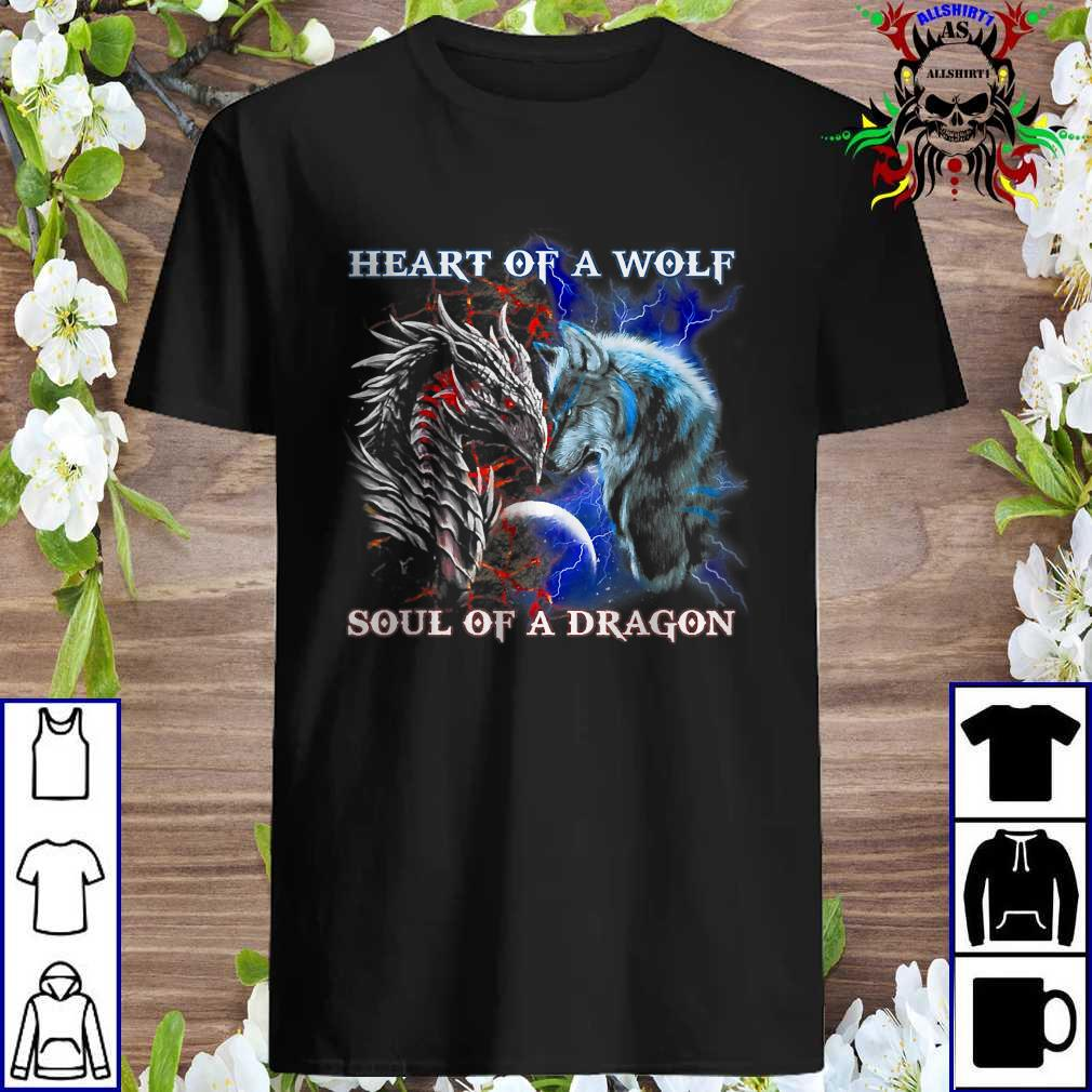 Dragon vs wolf heart of a wolf soul of a dragon shirt