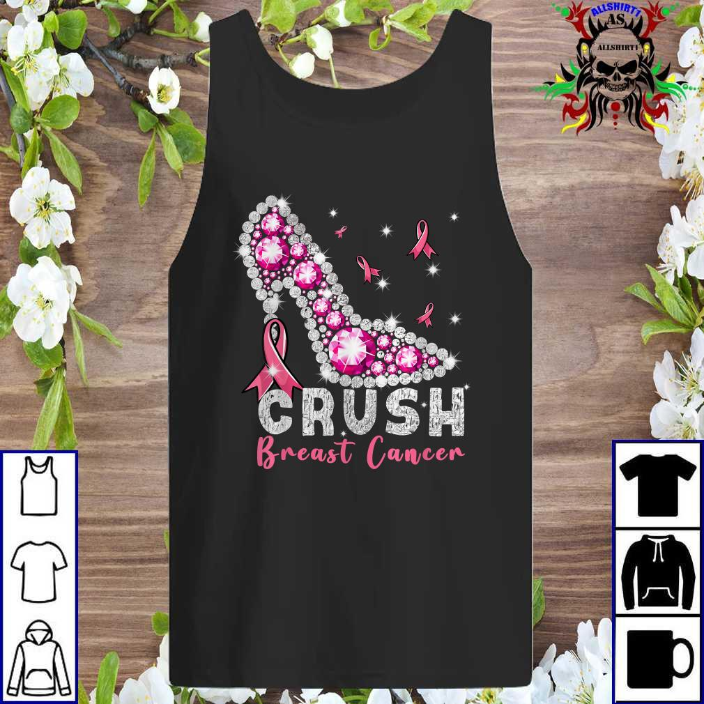 Crush Breast Cancer Pink Bling High Heels Breast Cancer Tank top