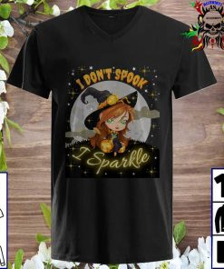 Cute Witch Halloween I Don't Spook I Sparkle v neck