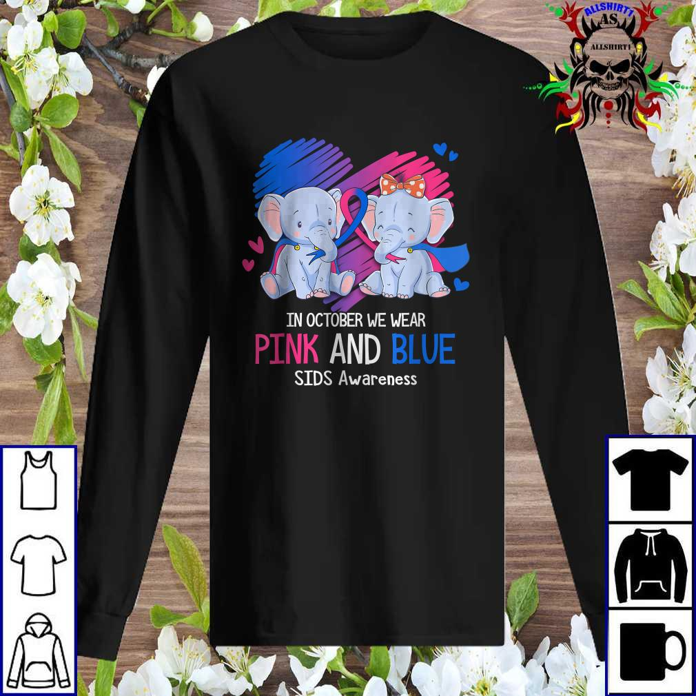Elephant In October We Wear Pink And Blue SIDS Awareness Sweatshirt