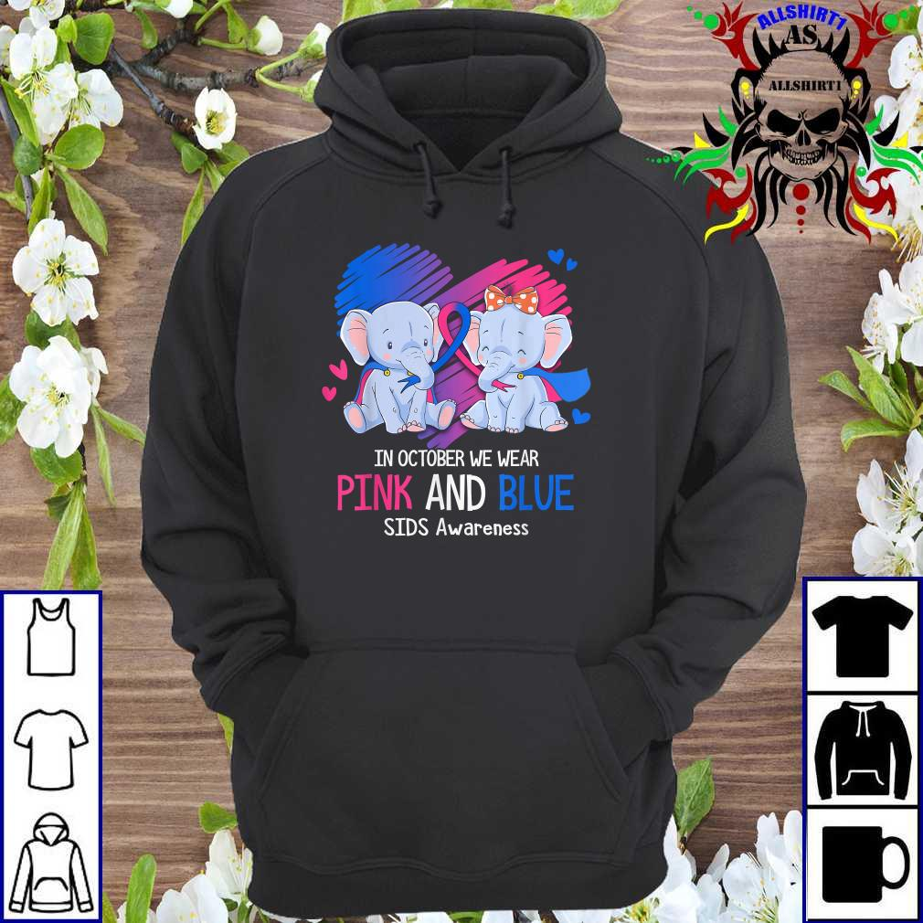 Elephant In October We Wear Pink And Blue SIDS Awareness hoodie