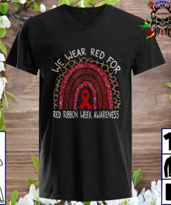 We Wear Red For Red Ribbon Week Awareness Leoopard Rainbow v neck