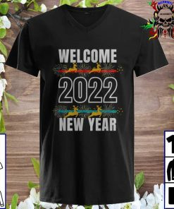 Welcome Happy New Year 2022 New Years Eve Party Supplies v neck